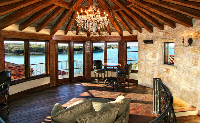 Horseshoe-Bay-Rotunda-Rustic-Spanish-Lake-House by Zbranek and Holt Custom Homes Luxury Home Builders Horseshoe Bay