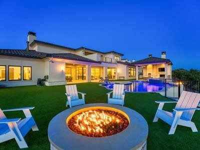 Zbranek and Holt Custom Homes- Outdoor Living Sunset - Fire Pit - Pool