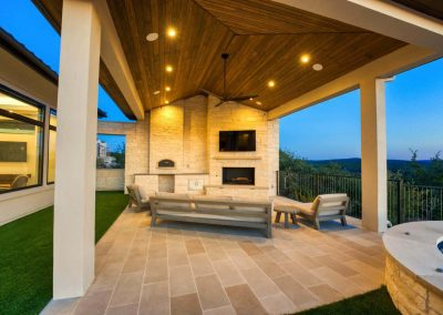 Zbranek-and-Holt-Custom-Homes-Outdoor-Pizza-Oven-Sunset-Outdoor-Living