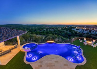 Zbranek-and-Holt-Custom-Homes-Backyard-Firepit-Pool-Sunset