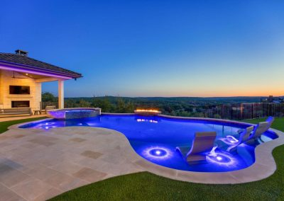 Zbranek-and-Holt-Custom-Homes-Backyard-Pool-Outdoor-Cabana-Sunset