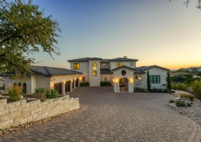 Zbranek-and-Holt-Custom-Homes-Paver-Driveway-Sunset-Front-Elevation