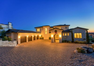 Zbranek-and-Holt-Custom-Homes-Sunset-Front-Entry-Paver-Drivway-Star-Lighting
