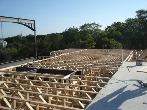 Second Story Floor Trusses Installed