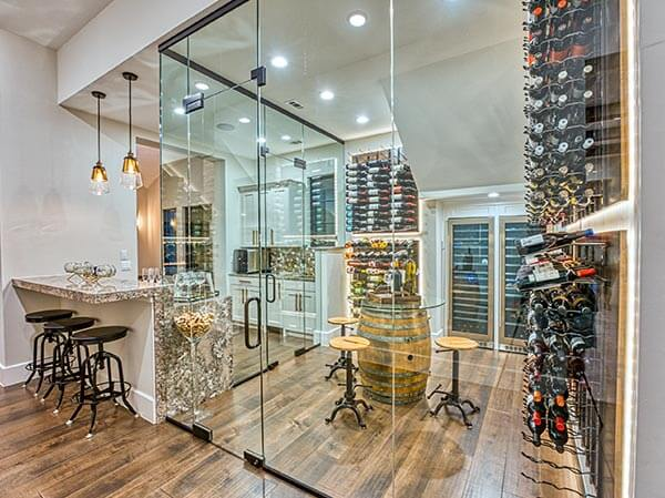 Zbranek and Holt Custom Homes - Wine Room - Bar - Sunset