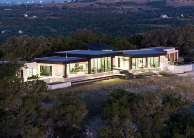 Drone Rear Left Hill Country Contemporary – Casa Tre Cortili by-zbranek-and-holt-custom-homes-luxury-home-builders-austin