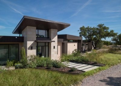 Exterior Front Entry Angle Hill Country Contemporary – Casa Tre Cortili by-zbranek-and-holt-custom-homes-luxury-home-builders-austin