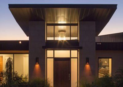 Front Entry - Night Hill Country Contemporary – Casa Tre Cortili by-zbranek-and-holt-custom-homes-luxury-home-builders-austin