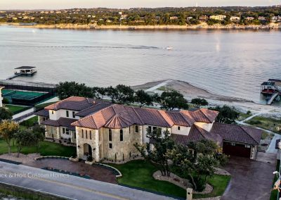 Zbranek-and-Holt-Custom-Homes-Waterfront-European-Luxury-Front-Drone-Lake-View